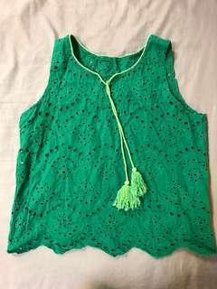 🚚 綠色花花綁帶上衣背心