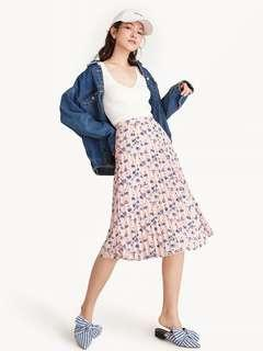 Pomelo Pleated Floral Midi Skirt - Pink