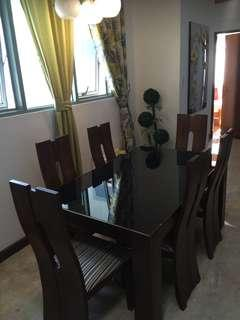 6 Seater dining table wood with top glass black
