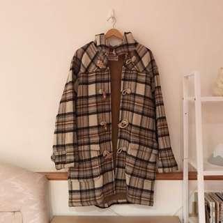 古著vintage 毛料格紋牛角釦連帽大衣外套