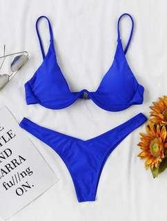 Underwire Top with High Leg Bikini Set Blue