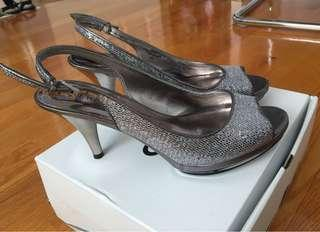 Silver Nine West Heels Size 6.5