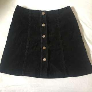 Corduroy black skirt