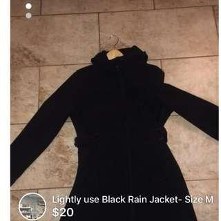 Lightly used Black Belted Rain Jacket- Size M