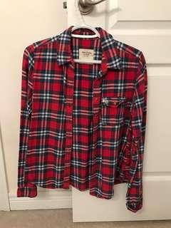 ABERCROMBIE kids red plaid shirt