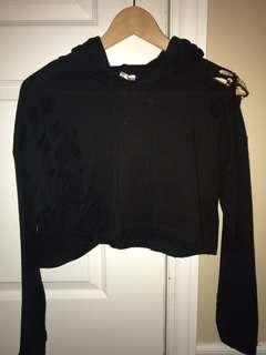 Black cropped ripped sweater from M