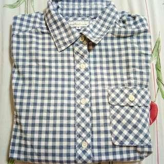 Gingham inspired long sleeves polo