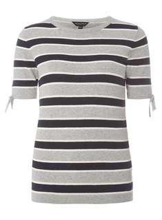 Dorothy Perkins - Grey and Navy Stripe Knitted Top