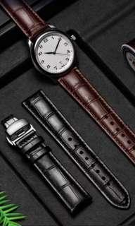 Watch Strap Genuine Leather Buckle Style Black Colour with Silver Clip