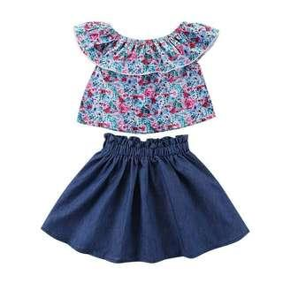 🚚 (PO) Flower & Denim Skirt