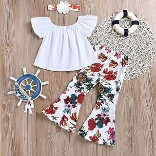 🚚 (PO) White Top & Flower Pant