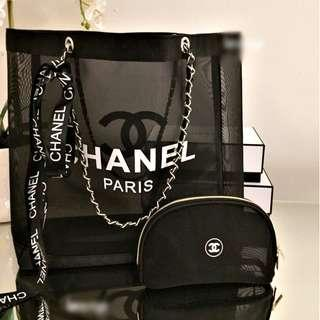 616ddcc3e638 CHANEL Makeup Chain Strap Mesh Tote Bag With Pouch (Black - White Logo