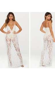 WHITE LACE SHEER PLUNGE MAXI DRESS