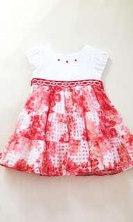 Periwinkle Red Dress for Toddler Girls