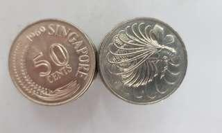 1969 Singapore 50 Cents Fish Coin