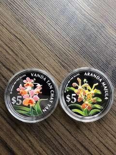 """F058 - Singapore 2006 """"Orchids"""" Silver Proof Coins Set"""
