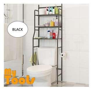 3 Tiers Bathroom And Toilet Organizer Shelves Rack- Black