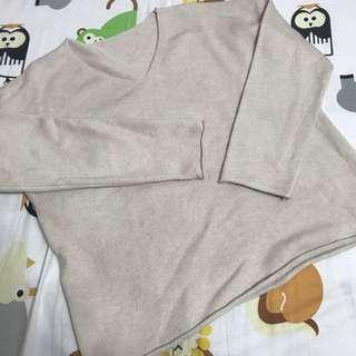 Khaki nude knit top