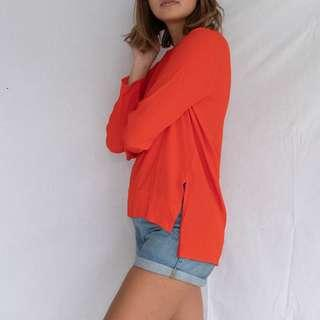 ZARA Orange Longsleeve Blouse
