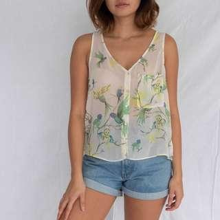 ZARA Printed sheer sleeveless top