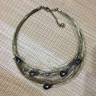 Golden Wire Chocker with Black Shiny Stone