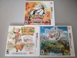 3DS/2DS Games (Fantasy Life / Story of season / Pokemon Sun )
