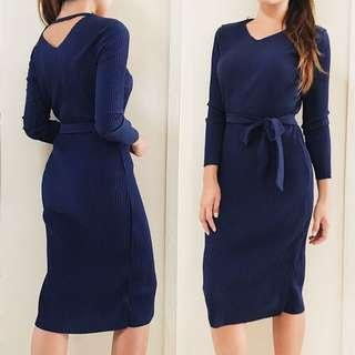 Navy Ribbed Work Dress