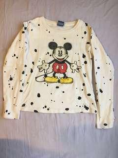 🚚 walt disney mickey mouse pullover white long sleeve tee top