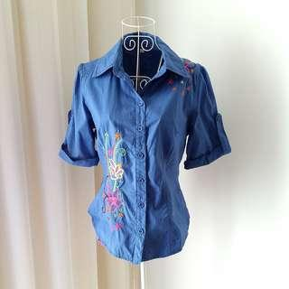 Blue Embroidered Floral Top/ Shirt
