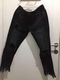 zara black ripped jeans