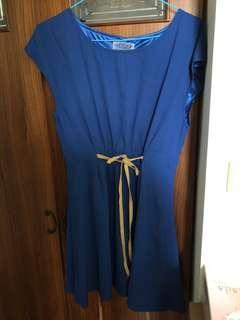 韓國製氣質藍色洋裝 顯腰身 近新