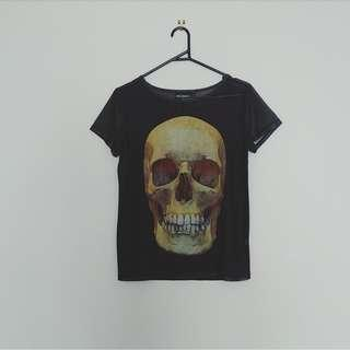 Pulp Kitchen - sheer mesh skull tee