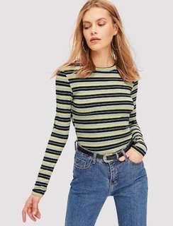NEW Colorful Striped Ribbed Tee Stripe Stripes belang blaster salur kaos knitwear size XS manset abu kuning yellow grey