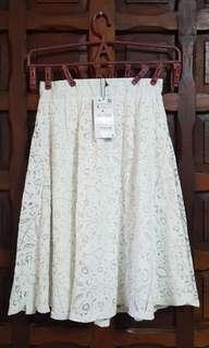 Zara White Lace Skirt