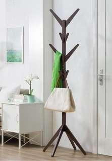Bags & clothes wooden hanger stand