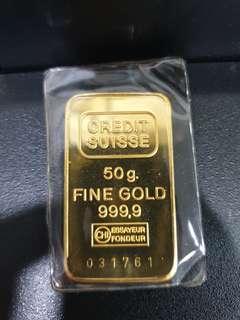 Credit Suisse 999.9 50 grams bar good condition!