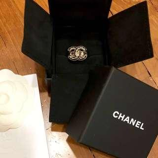 Authentic Chanel Black/Gold Ring