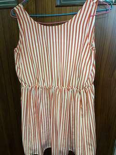 Lowrys farm顯瘦紅白條紋雪紡洋裝 有內裡 日本購入
