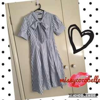 Brand New* tie neck fit & flare striped dress