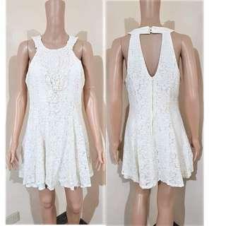 Ivory wWhite Lace keyhole dress