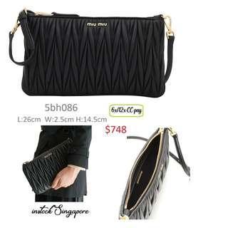 33595c5ba106 READY STOCK authentic new Miu Miu 5BH086 Matelasse Leather Clutch  Shoulder  Bag- Black