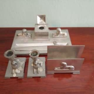 Old desk set with sfinx motif in pewter