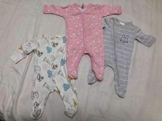 Baby Romper/ sleepsuit (3 in a set)