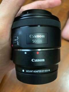 🚚 Canon 50mm F1.8 STM and EF-M to EF adapter