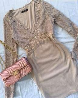 Sequin longsleeve lace dress nude