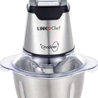 LINKChef 🔥🔥🔥  4.7 out of 5 stars  66 Reviews Mini Food Chopper LINKChef Food Processor Onion Vegetable Garlic Chopper Electric 4 bi-level blades 1.2L Robust Stainless Steel Bowl with 500ml Food Capacity Silver/ Black(FC-5125)- (Silver and black)