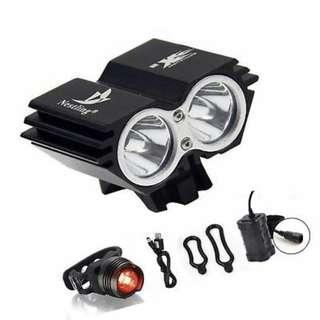 Nesting 🔥🔥🔥 Nesting Waterproof 5000 Lumen 2x CREE XML U2 LED Cycling Bicycle Bike Light Lamp HeadLight Headlamp + 8.4V 6400mAh Battery Pack + 1 x Free Rear Light