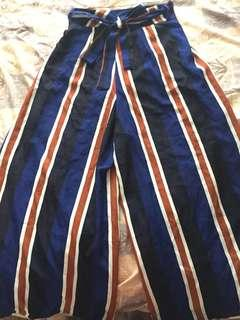 High waisted striped culottes- with side splits