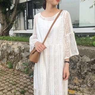 森女系超仙白色蕾絲網紗連衣裙