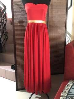 Red-orange tube gown (small-medium)
